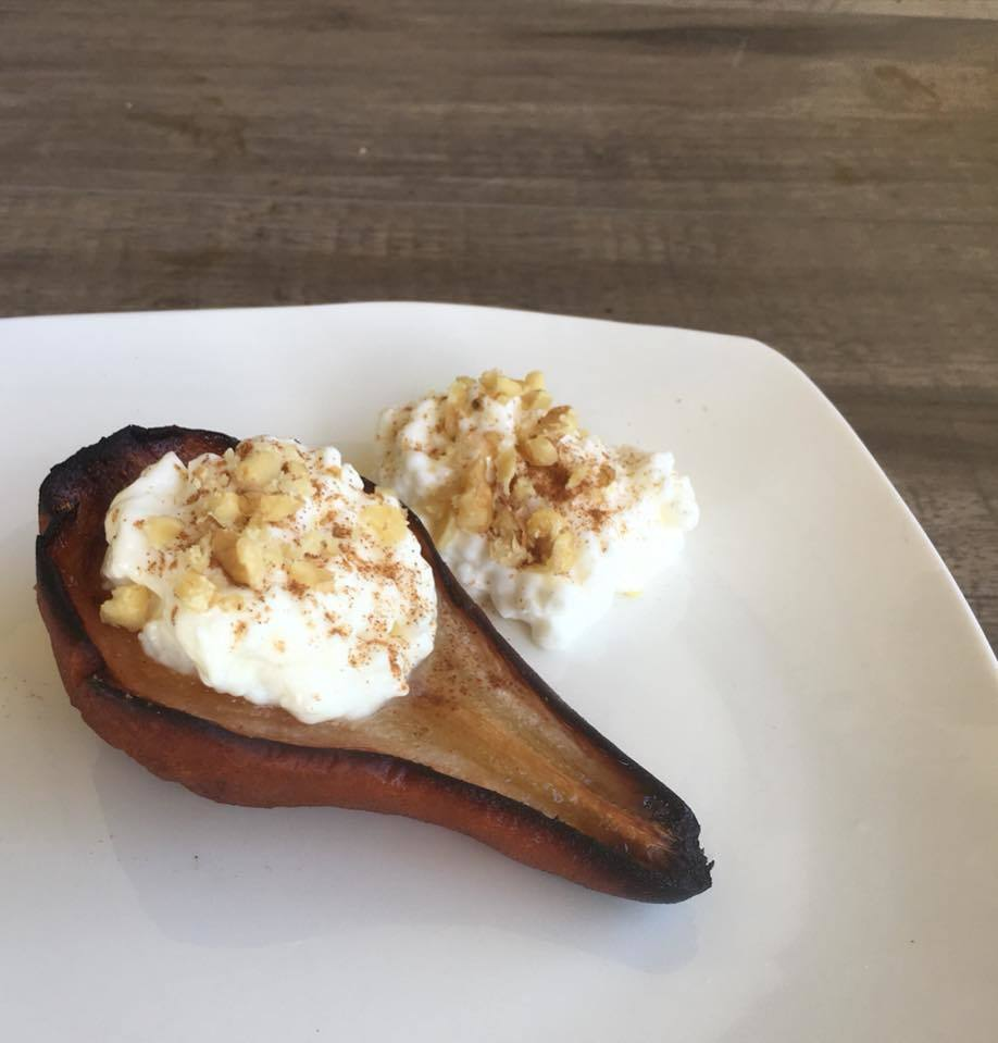 Bariatric dessert caramelized cinnamon stuffed pear