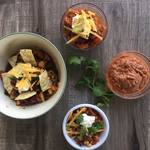 Taco soup served four different ways