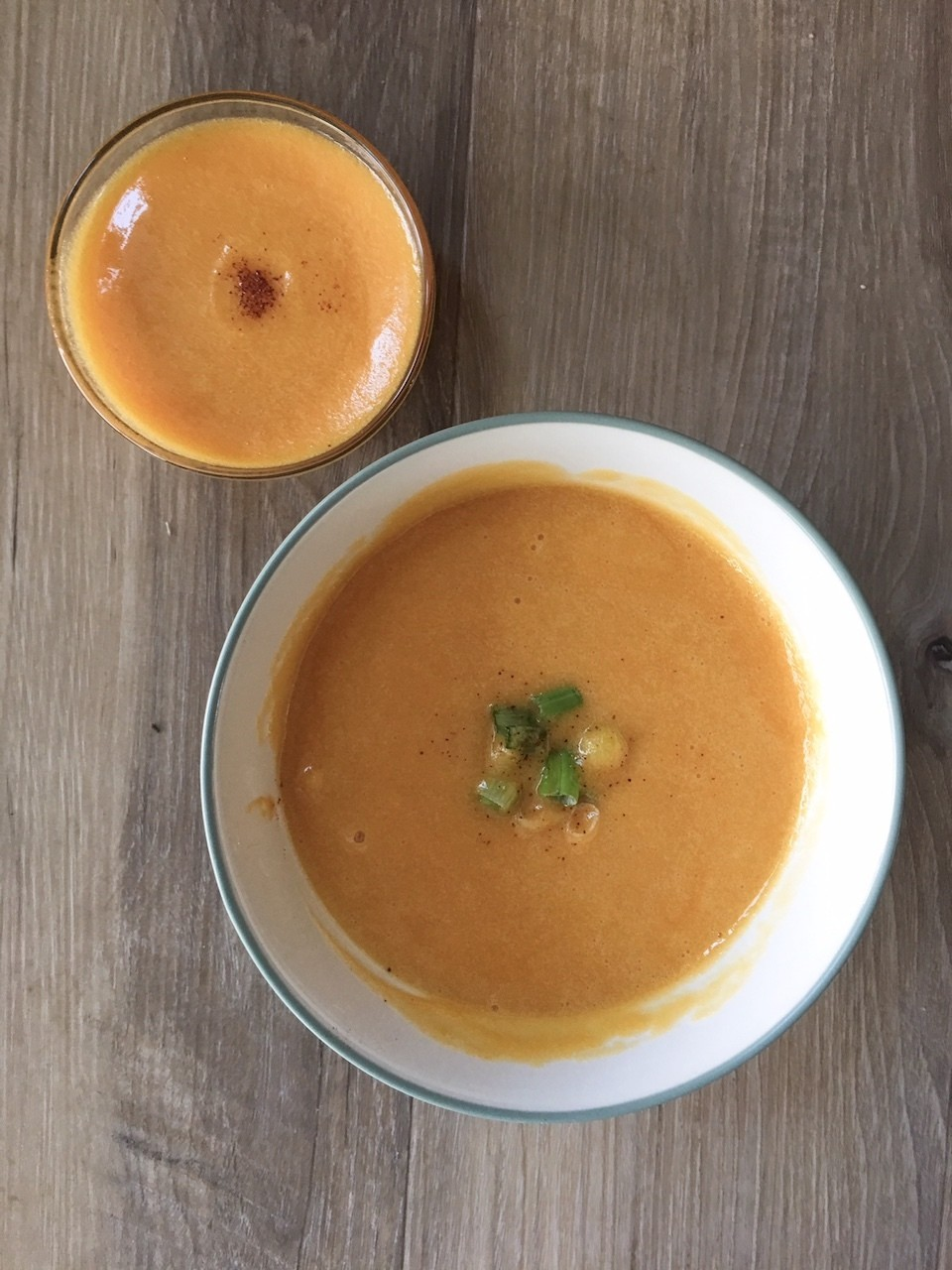 High Protein Butternut Squash Soup in bowl