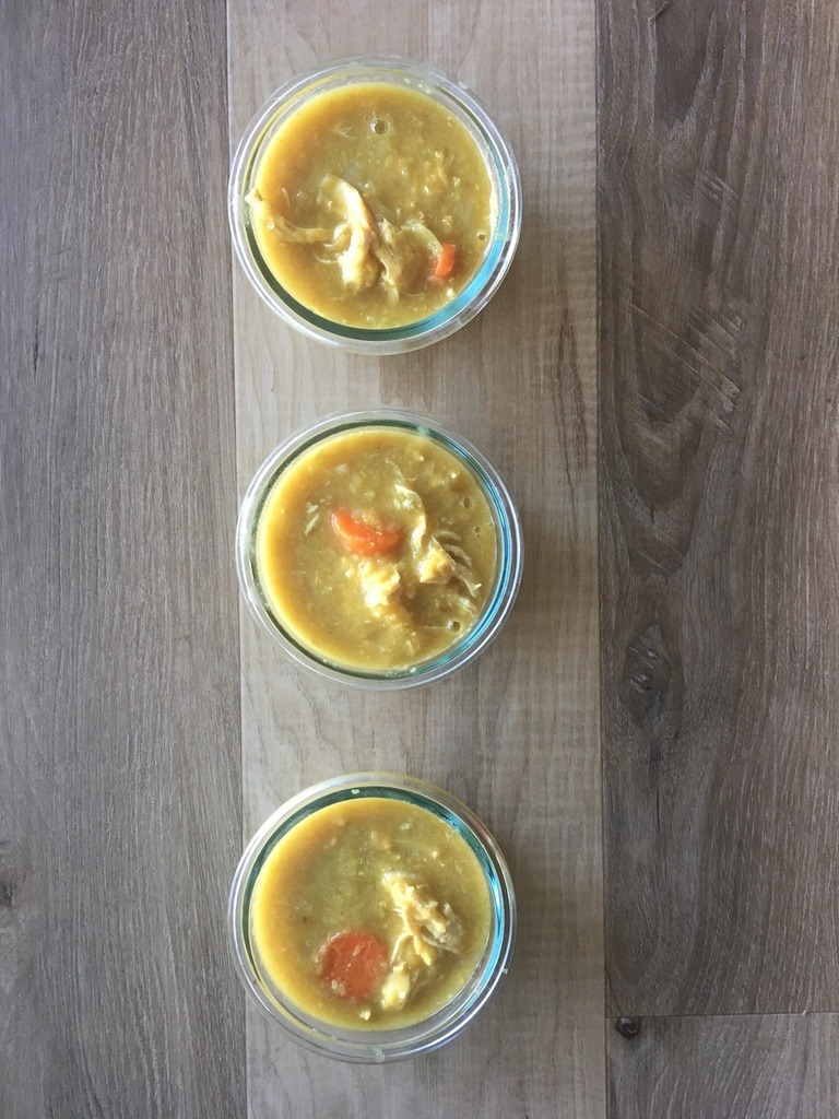 Curry Chicken Lentil Soup in meal prep containers