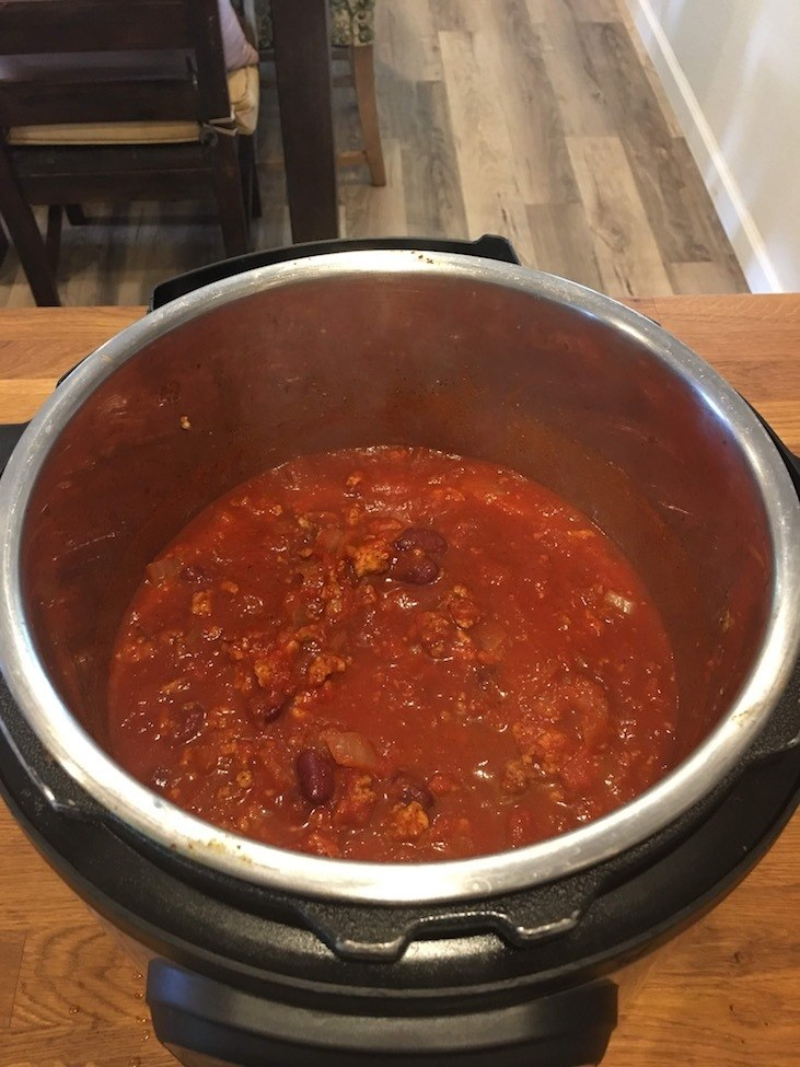 Instant Pot Turkey Chili Cooking