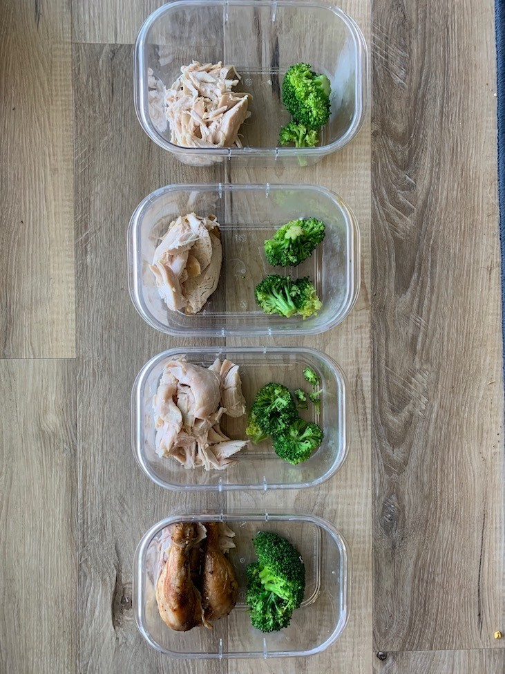 Rotisserie chicken meal prep with broccoli