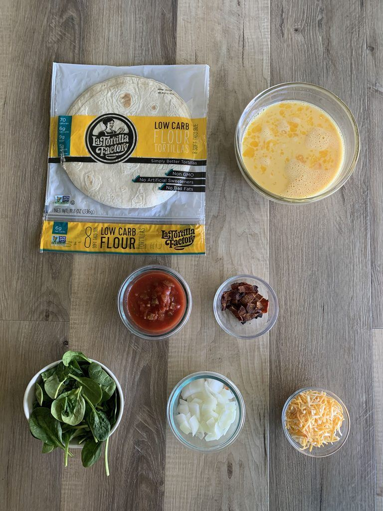 Ingrediets for low carb breakfast burrito